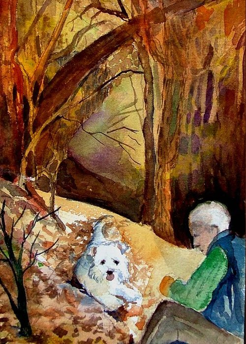 Landscape Greeting Card featuring the painting His Golden Years by Mindy Newman