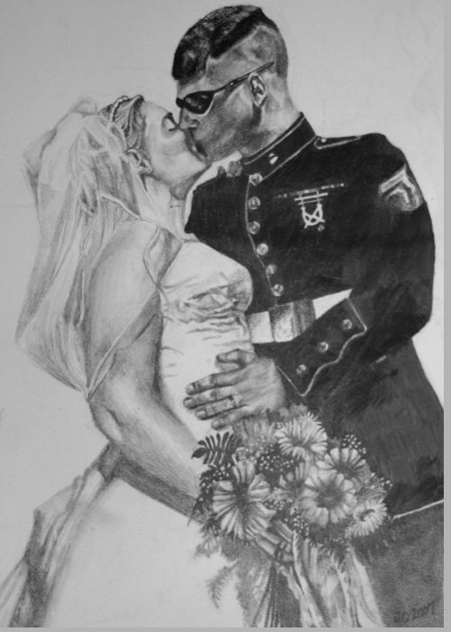 Military Greeting Card featuring the drawing His Hero At Home by Darcie Duranceau