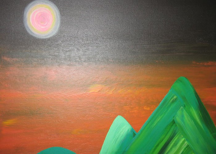 Mountians Greeting Card featuring the painting His Mountain by Sarah England-Rocca