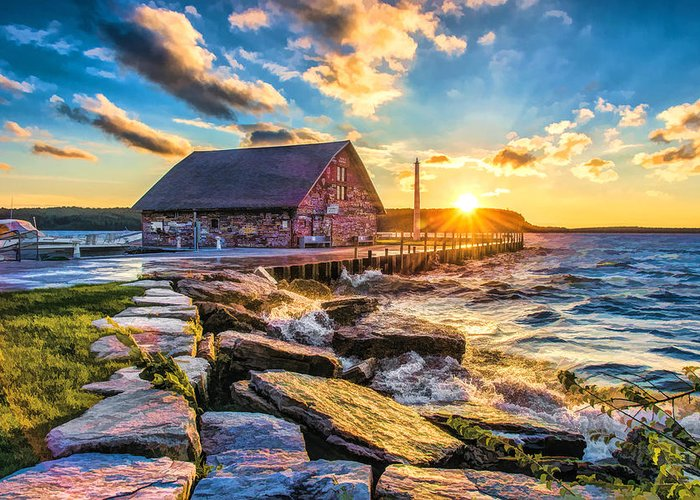 Door County Greeting Card featuring the painting Historic Anderson Dock In Ephraim Door County by Christopher Arndt