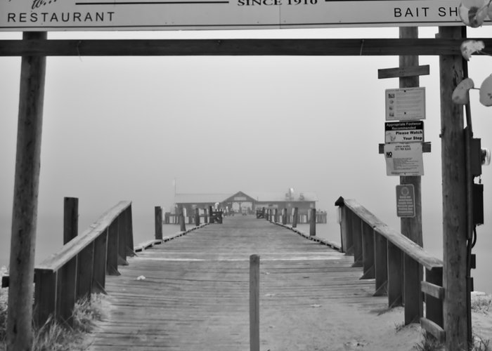 Anna Maria Island Greeting Card featuring the photograph Historic Anna Maria City Pier In Fog Infrared 52 by Rolf Bertram