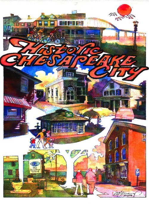 Historic Chesapeake City Greeting Card featuring the painting Historic Chesapeake City Poster by Craig A Christiansen