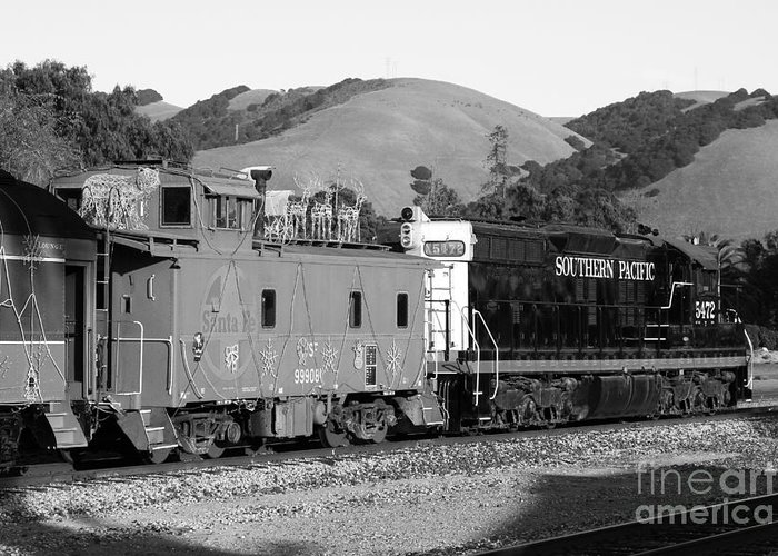 Black And White Greeting Card featuring the photograph Historic Niles Trains In California . Southern Pacific Locomotive And Sante Fe Caboose.7d10843.bw by Wingsdomain Art and Photography