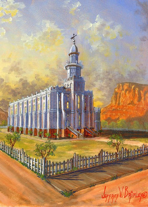 St. George Temple Greeting Card featuring the painting Historic St. George Temple by Jeff Brimley