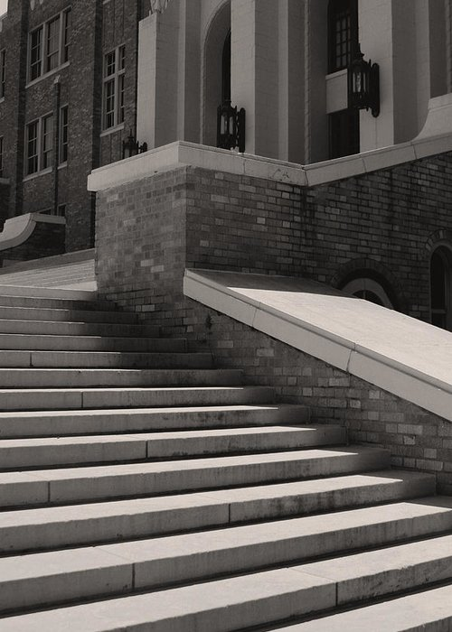Little Rock Greeting Card featuring the photograph Historic Steps Little Rock Central High School by Brian M Lumley