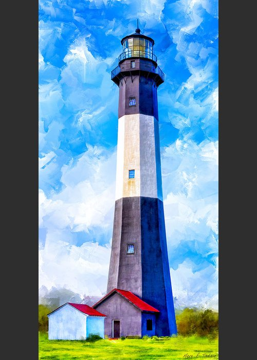 Tybee Greeting Card featuring the mixed media Historic Tybee Island Lighthouse by Mark E Tisdale