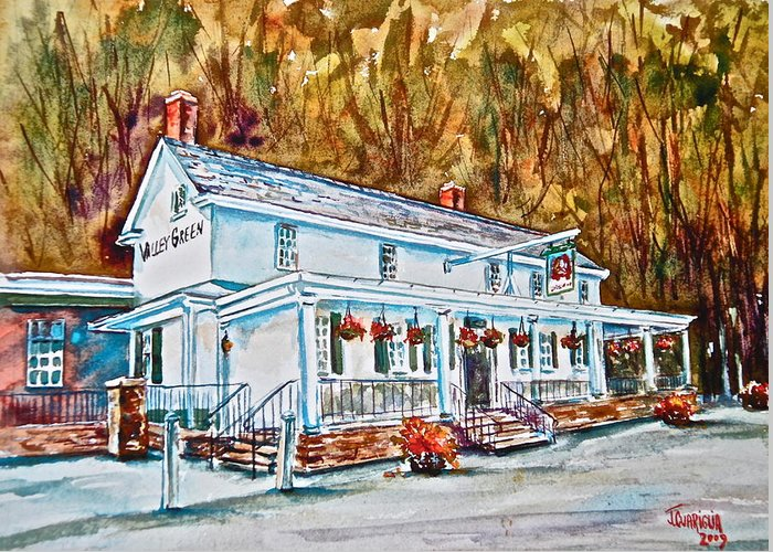 Historic Greeting Card featuring the pastel Historic Valley Green Inn by Joyce A Guariglia