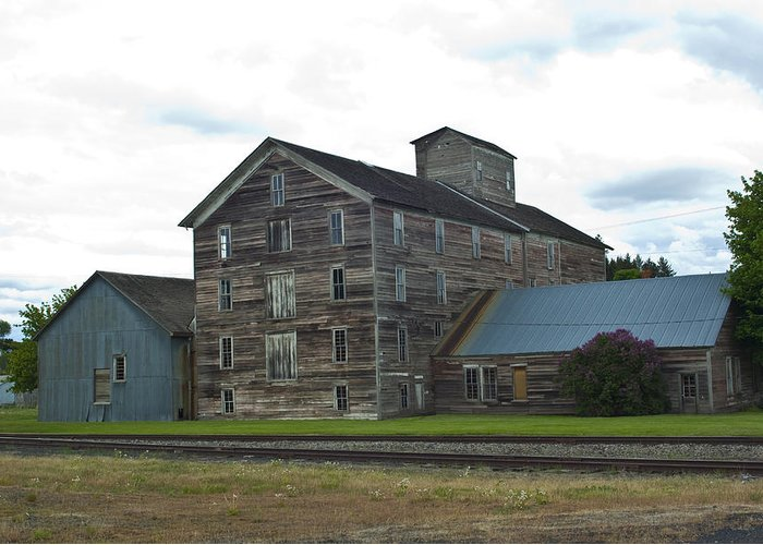 Historical Greeting Card featuring the photograph Historical Barron Wheat Flour Mill In Oakesdale Wa by Louise Magno