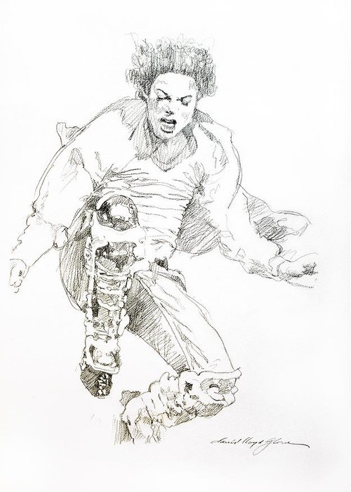 Michael Jackson Greeting Card featuring the drawing History Concert - Michael Jackson by David Lloyd Glover