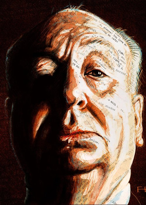 Alfred Hitchcock Greeting Card featuring the painting Hitchcock by Fay Helfer