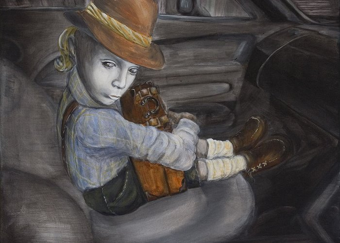 Boy Greeting Card featuring the painting Hitchhiker by Nik Helbig