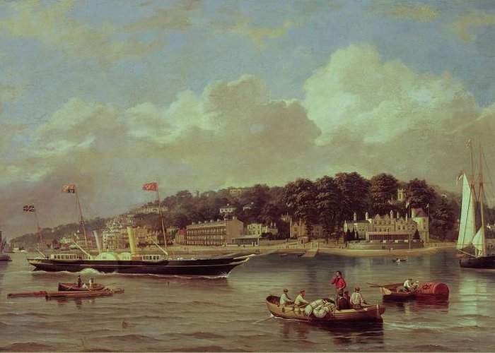 Hms Greeting Card featuring the painting Hm Yacht Victoria by George Gregory