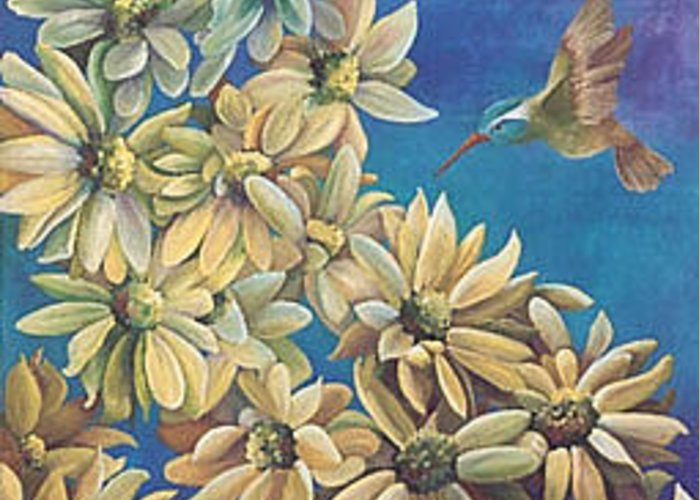 Hummingbird Greeting Card featuring the painting Hmmm... by Marti Bailey