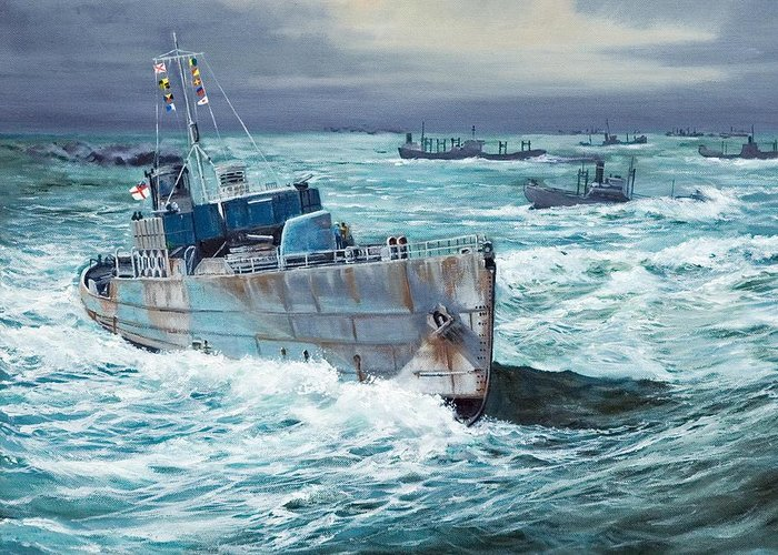 Hms Compass Rose Greeting Card featuring the painting Hms Compass Rose Escorting North Atlantic Convoy by Glenn Secrest