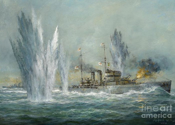 Naval; Boat; Ship; Sailing; Battleship; Warship; Seascape; Battle; Firing; Bomb; Bombing; Hms Exeter; Graf Spree; River Plate; Ships Greeting Card featuring the painting Hms Exeter Engaging In The Graf Spree At The Battle Of The River Plate by Richard Willis