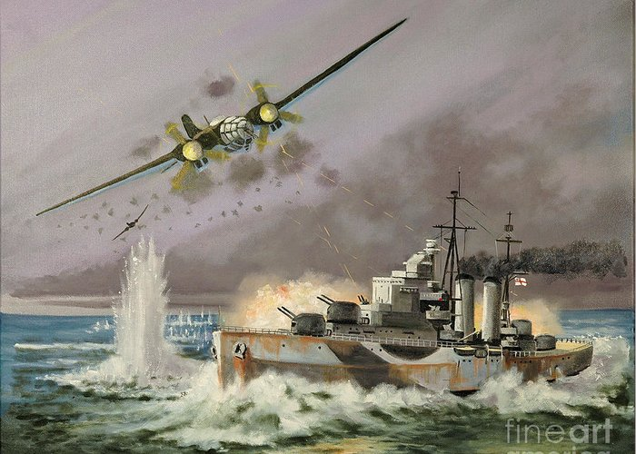 Ships That Never Were Greeting Card featuring the painting Hms Ulysses Attacked By Heinkel IIis Off North Cape by Glenn Secrest