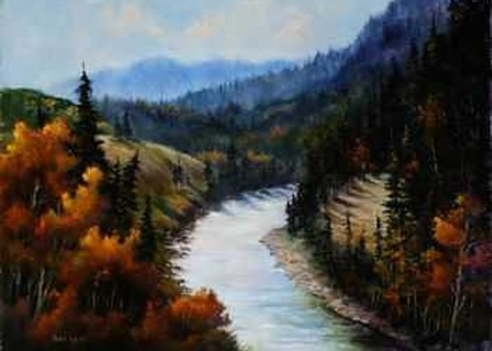 Oil Greeting Card featuring the painting Hoback Canyon by Rene Hart