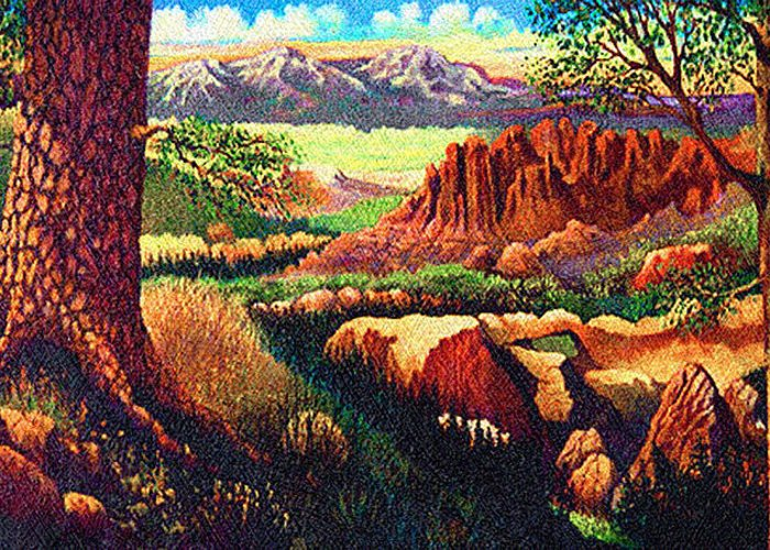 Fantasy Hobbits Rocks Trees Texas Greeting Card featuring the painting Hobbit Land by Donn Kay
