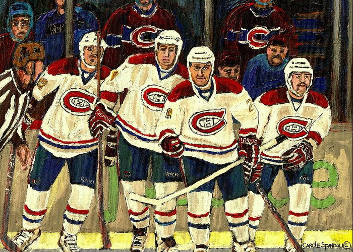 Hockey Art The Habs Fab Four Greeting Card featuring the painting Hockey Art The Habs Fab Four by Carole Spandau