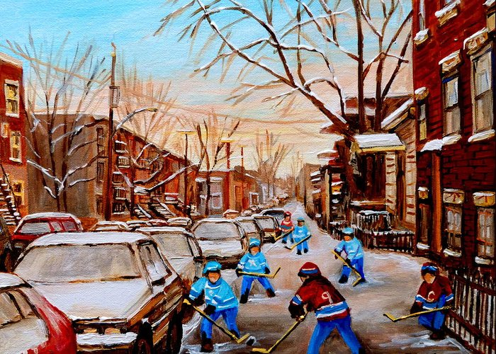 Montreal Greeting Card featuring the painting Hockey Gameon Jeanne Mance Street Montreal by Carole Spandau