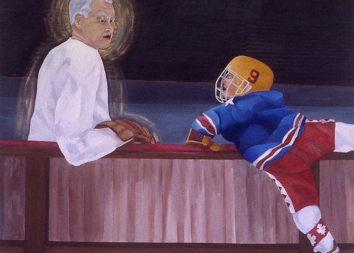 Hockey Greeting Card featuring the painting Hockey God by Ken Yackel