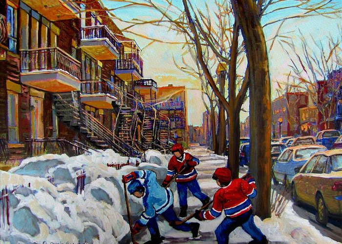 Of Hockey Paintings Greeting Cards