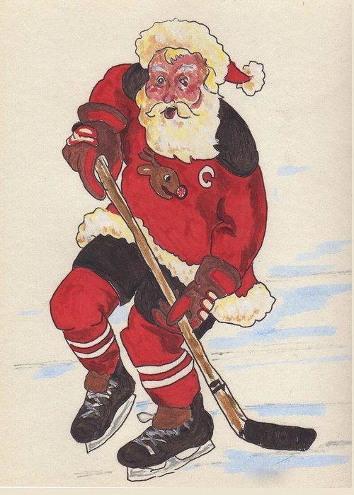 Santa Greeting Card featuring the painting Hockey Santa by Todd Peterson