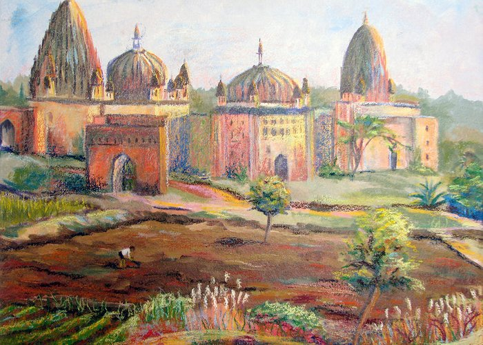Landscape Greeting Card featuring the painting Hoeing By Hand In Orchha India by Art Nomad Sandra Hansen
