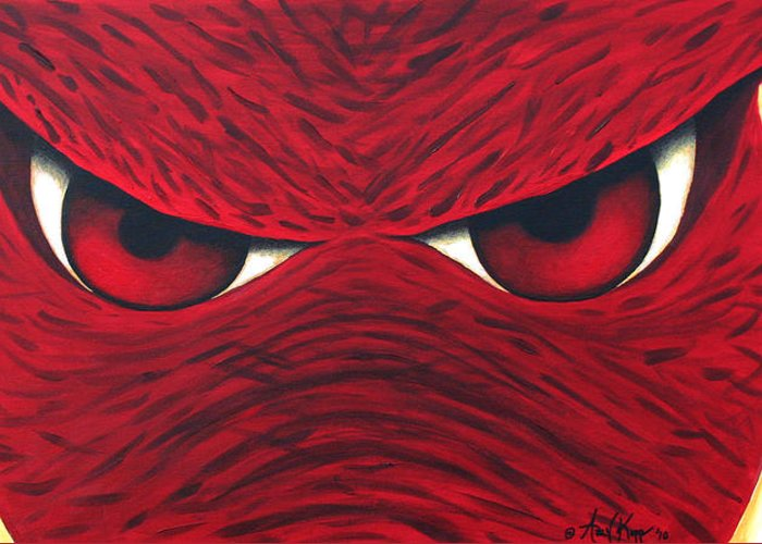 Arkansas Razorback Greeting Card featuring the painting Hog Eyes 2 by Amy Parker