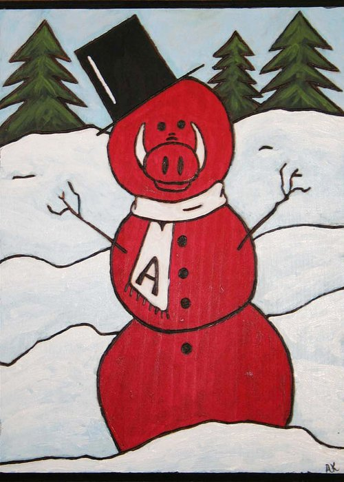Arkansas Razorbacks Greeting Card featuring the painting Hog Snowman by Amy Parker