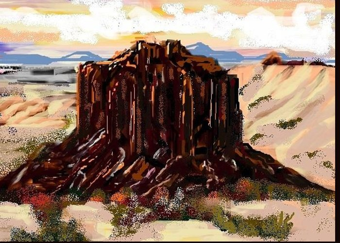 Landscape Greeting Card featuring the digital art Hogan's Butte by Patricia Hengeveld