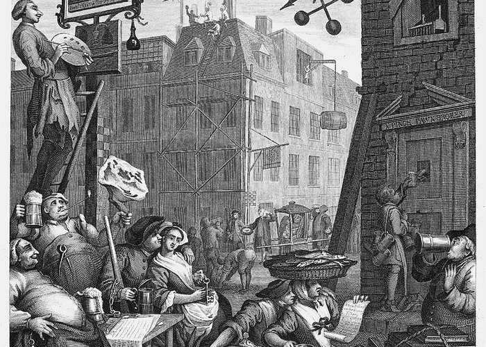 18th Century Greeting Card featuring the photograph Hogarth: Beer Street by Granger
