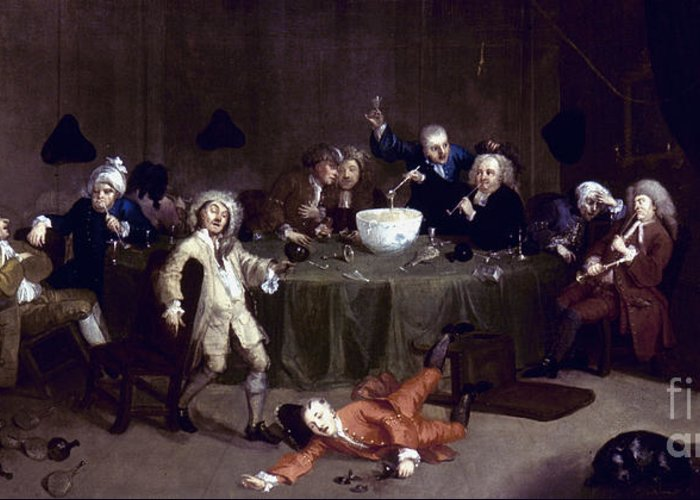18th Century Greeting Card featuring the photograph Hogarth: Midnight, 1731 by Granger