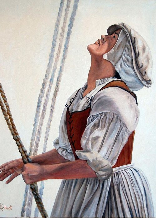 Portrait Greeting Card featuring the painting Hoisting Sails by Anne Kushnick