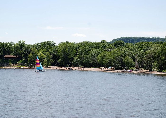 Mississippi River Greeting Card featuring the photograph Hok-si-la Park by Larry Nielson