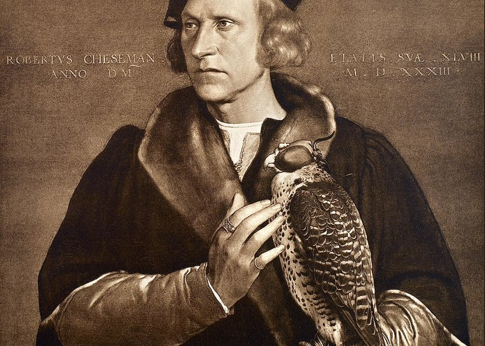 1533 Greeting Card featuring the photograph Holbein: Falconer, 1533 by Granger