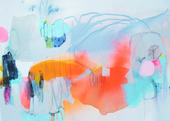 Abstract Greeting Card featuring the painting Hold Out by Claire Desjardins