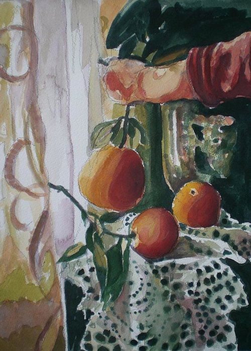 Still Life Greeting Card featuring the painting Holding  An Orange by Aleksandra Buha