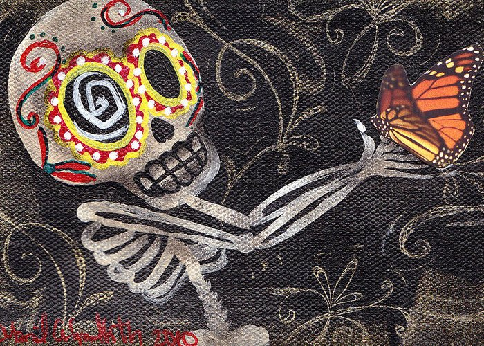 Day Of The Dead Greeting Card featuring the painting Holding Life by Abril Andrade Griffith