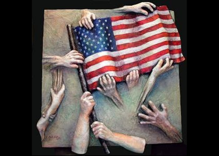 Sept. 11 Greeting Card featuring the mixed media Holding On by Marti Nash