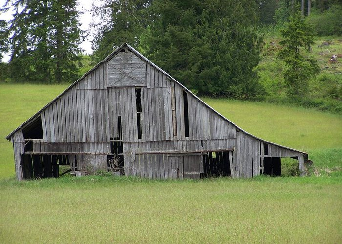 Barn Greeting Card featuring the photograph Holey Old Barn Washington State by Laurie Kidd