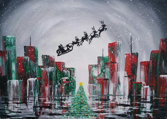 Christmas Greeting Card featuring the painting Holiday In The City by Ashley Gallery