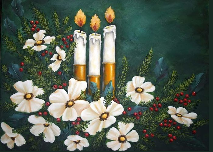 Still Life Greeting Card featuring the painting Holiday Light by Ruth Bares