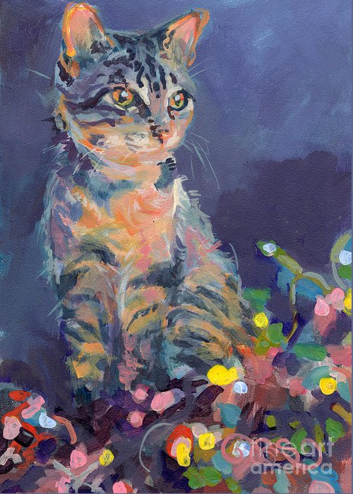 Gray Tabby Greeting Card featuring the painting Holiday Lights by Kimberly Santini