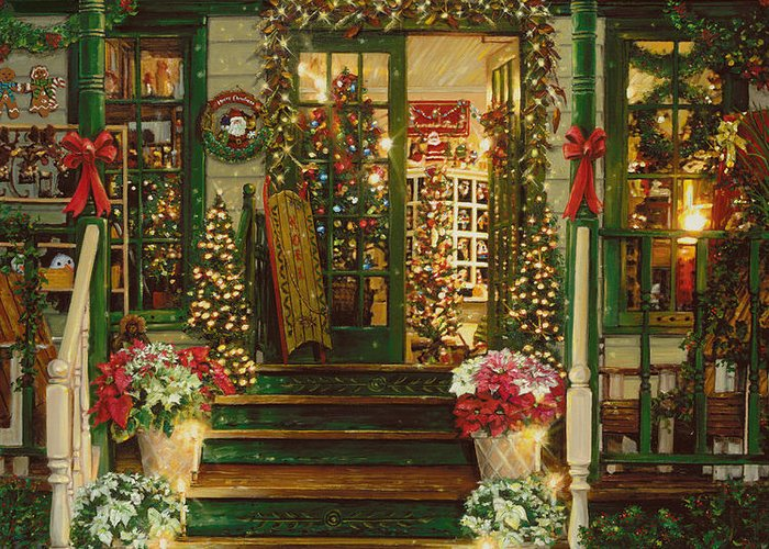 Holiday Treasured Greeting Card featuring the painting Holiday Treasured by Doug Kreuger