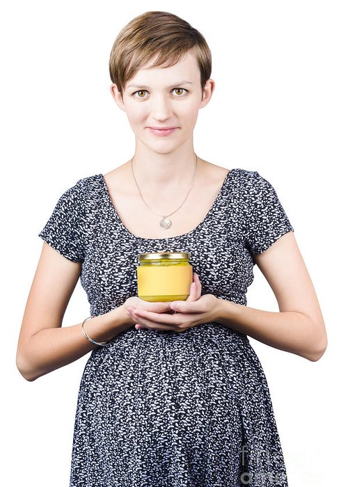 Homemade Greeting Card featuring the photograph Holistic Naturopath Holding Jar Of Homemade Spread by Jorgo Photography - Wall Art Gallery