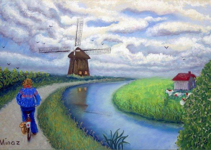 Biking Greeting Card featuring the painting Holland Windmill Bike Path by Minaz Jantz