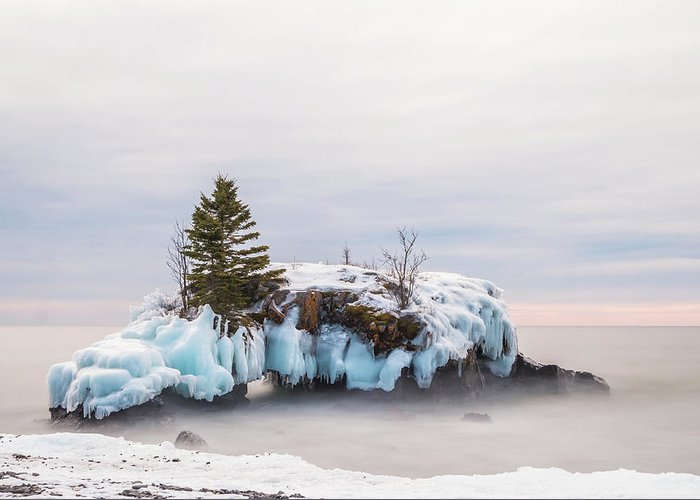 Hollow Rock Greeting Card featuring the photograph Hollow Rock Winter by Linda Ryma