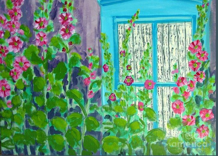 Hollyhocks Greeting Card featuring the painting Hollyhock Surprise by Laurie Morgan