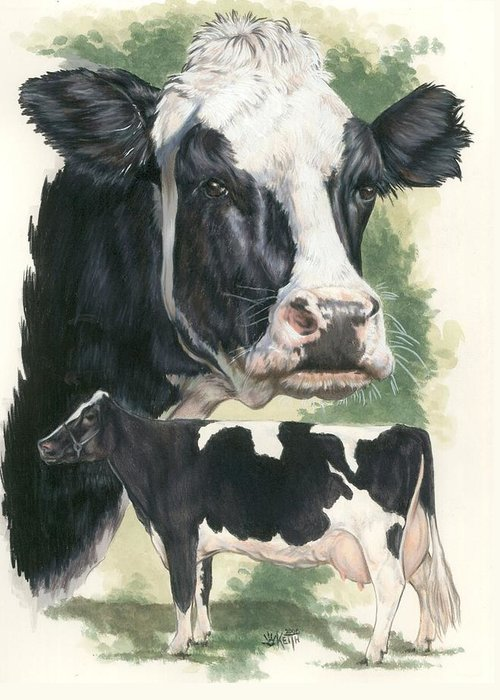 Cow Greeting Card featuring the mixed media Holstein by Barbara Keith